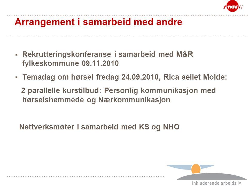 Side 38 Arrangement i samarbeid med andre  Rekrutteringskonferanse i samarbeid med M&R fylkeskommune 09.11.2010  Temadag om hørsel fredag 24.09.2010