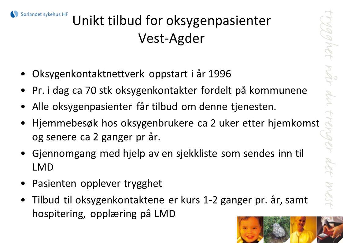 Unikt tilbud for oksygenpasienter Vest-Agder Oksygenkontaktnettverk oppstart i år 1996 Pr. i dag ca 70 stk oksygenkontakter fordelt på kommunene Alle