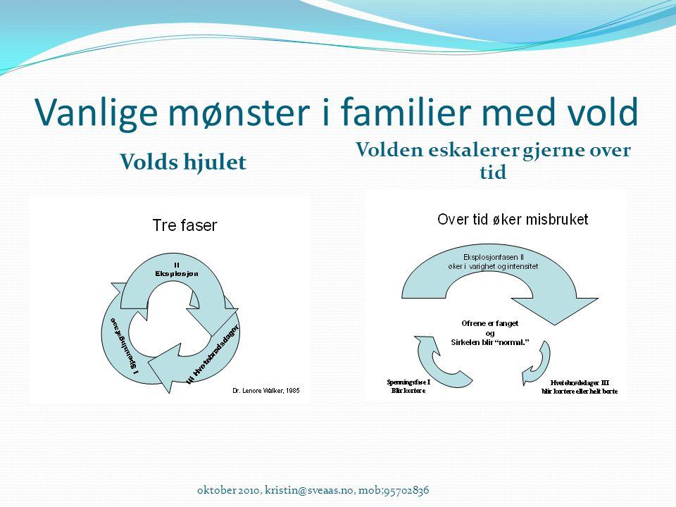 Vanlige mønster i familier med vold Volds hjulet Volden eskalerer gjerne over tid oktober 2010, kristin@sveaas.no, mob;95702836