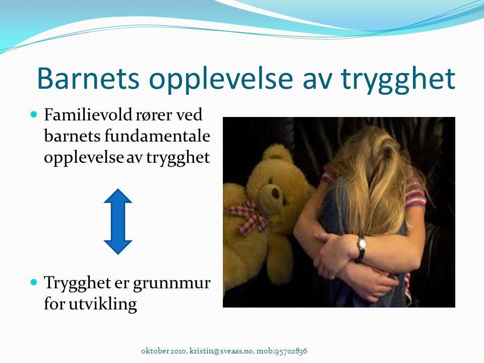 Barnets opplevelse av trygghet Familievold rører ved barnets fundamentale opplevelse av trygghet Trygghet er grunnmur for utvikling oktober 2010, kris
