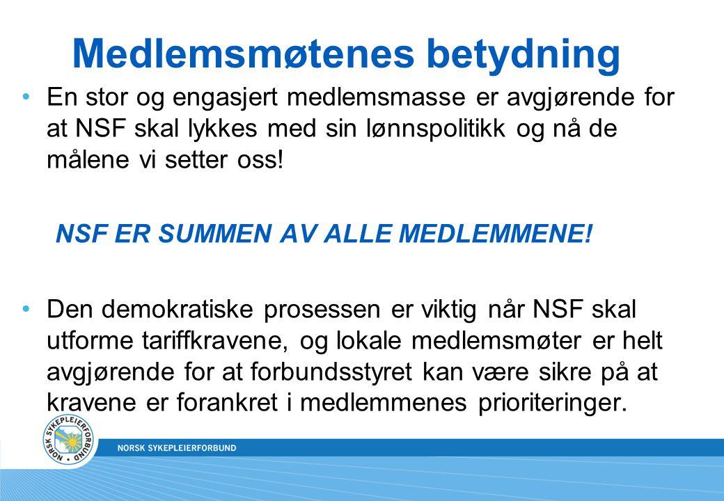 Medlemsmøtenes betydning En stor og engasjert medlemsmasse er avgjørende for at NSF skal lykkes med sin lønnspolitikk og nå de målene vi setter oss.