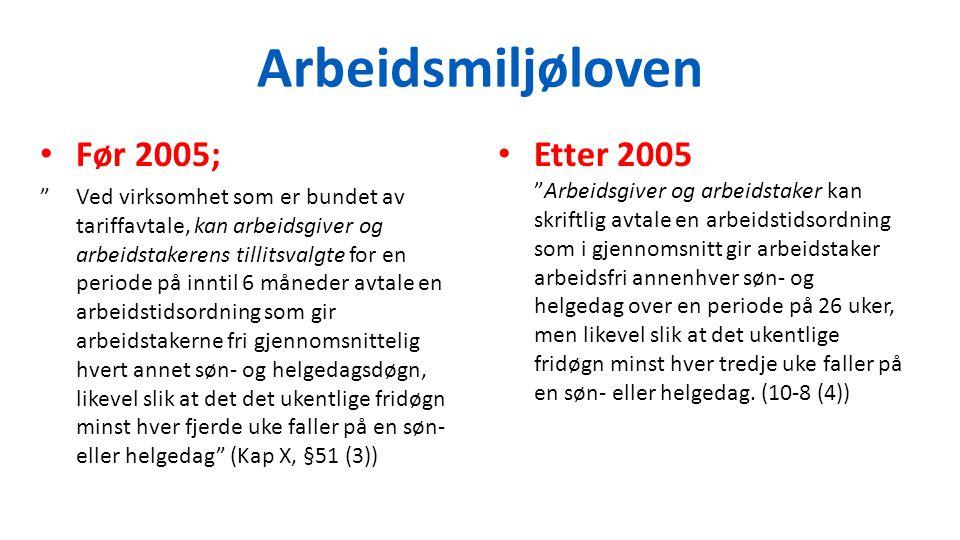"""Arbeidsmiljøloven Før 2005; """"Ved virksomhet som er bundet av tariffavtale, kan arbeidsgiver og arbeidstakerens tillitsvalgte for en periode på inntil"""