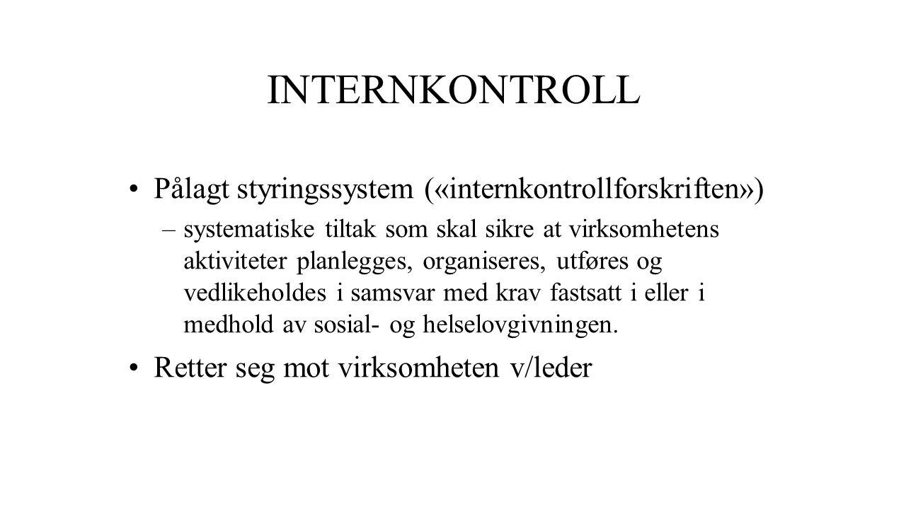 INTERNKONTROLL Pålagt styringssystem («internkontrollforskriften») –systematiske tiltak som skal sikre at virksomhetens aktiviteter planlegges, organi