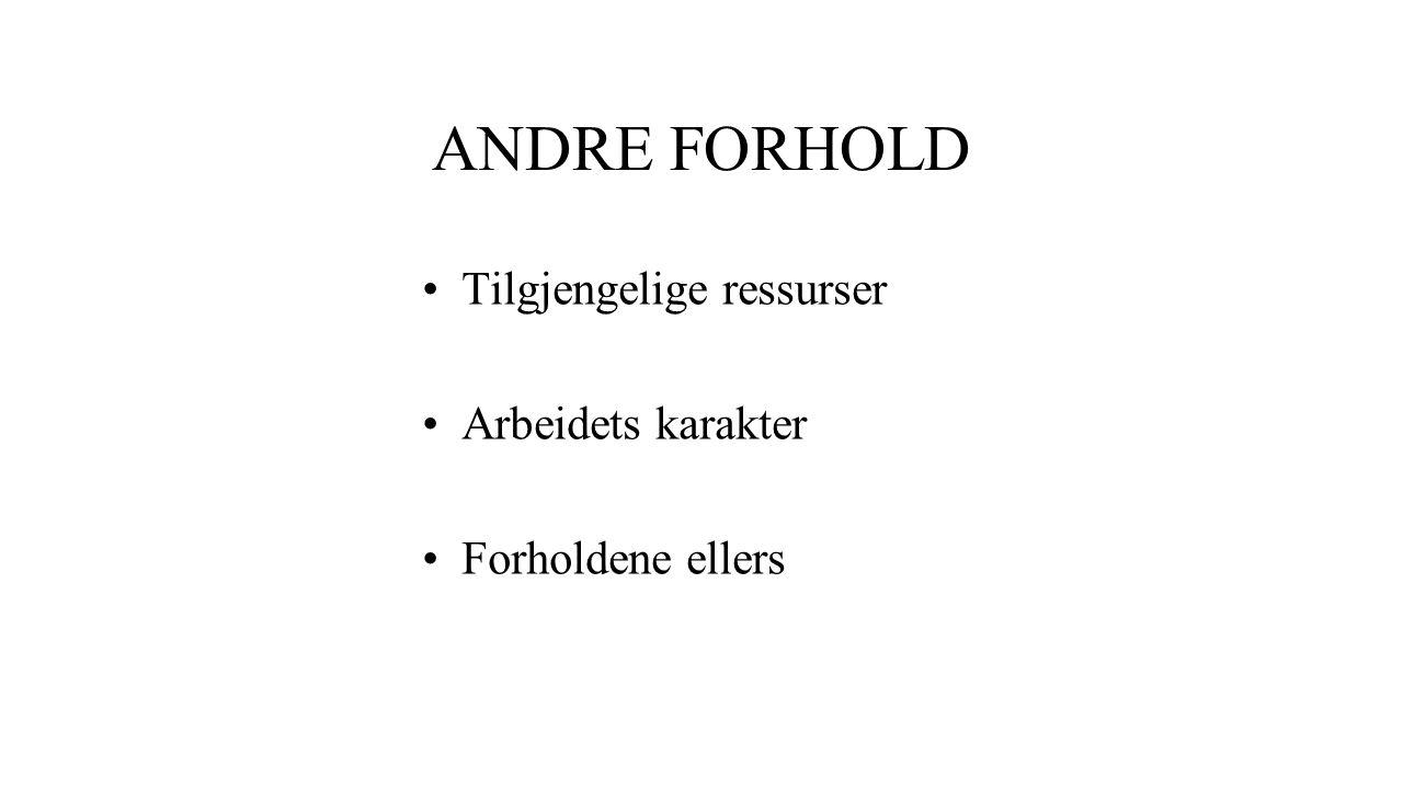 ANDRE FORHOLD Tilgjengelige ressurser Arbeidets karakter Forholdene ellers