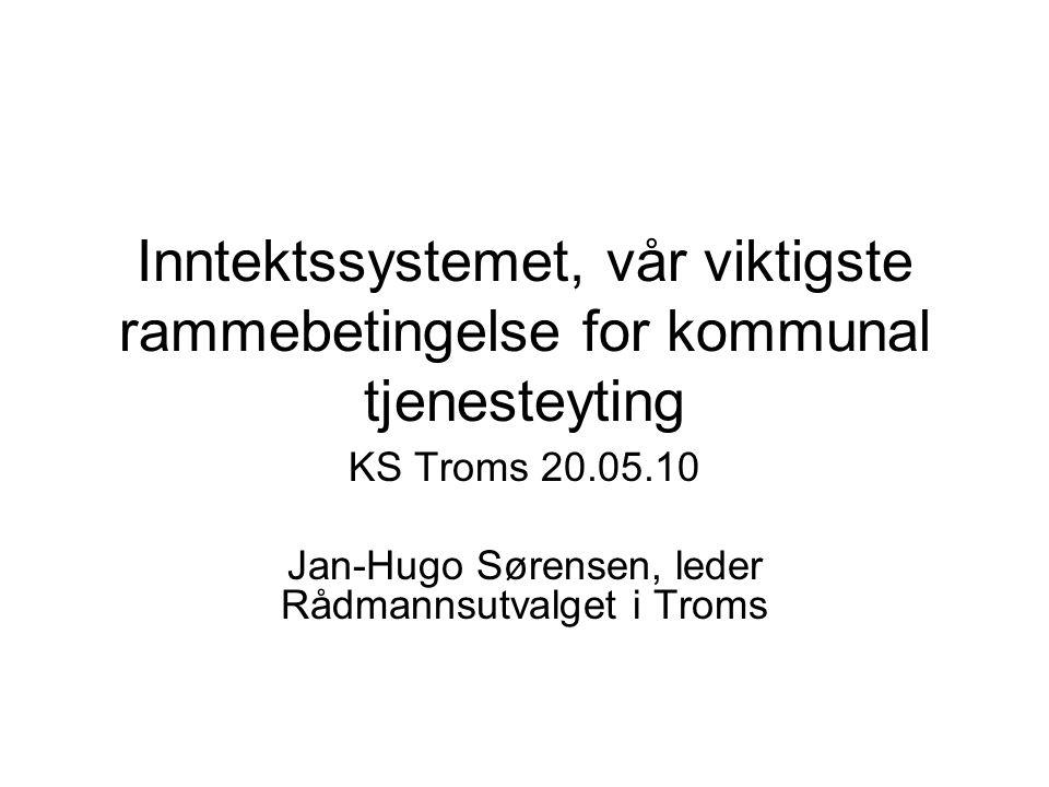 Rammetilskudd 2010 - Troms Kommunene2.542 mill kr Fylkeskommunen1.043 mill kr = SUM3.585 mill kr Hele landet81.668 mill kr