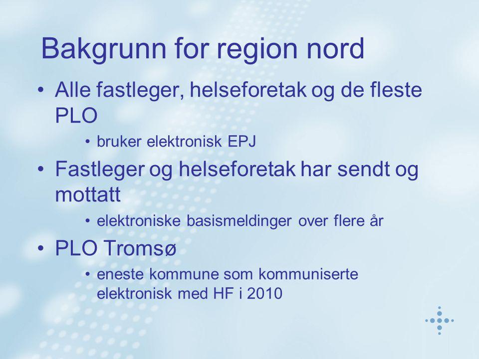 Bakgrunn for region nord Alle fastleger, helseforetak og de fleste PLO bruker elektronisk EPJ Fastleger og helseforetak har sendt og mottatt elektroniske basismeldinger over flere år PLO Tromsø eneste kommune som kommuniserte elektronisk med HF i 2010