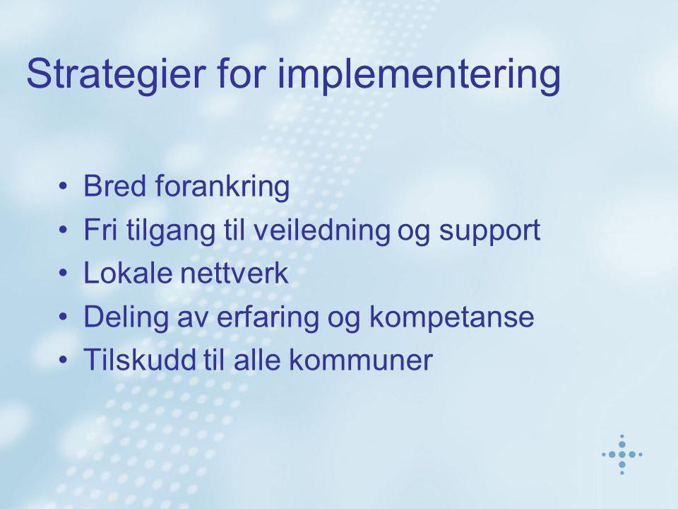 Strategier for implementering Bred forankring Fri tilgang til veiledning og support Lokale nettverk Deling av erfaring og kompetanse Tilskudd til alle kommuner