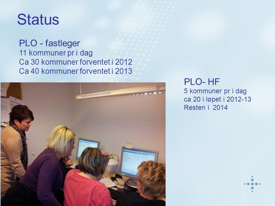 Status PLO - fastleger 11 kommuner pr i dag Ca 30 kommuner forventet i 2012 Ca 40 kommuner forventet i 2013 PLO- HF 5 kommuner pr i dag ca 20 i løpet i 2012-13 Resten i 2014
