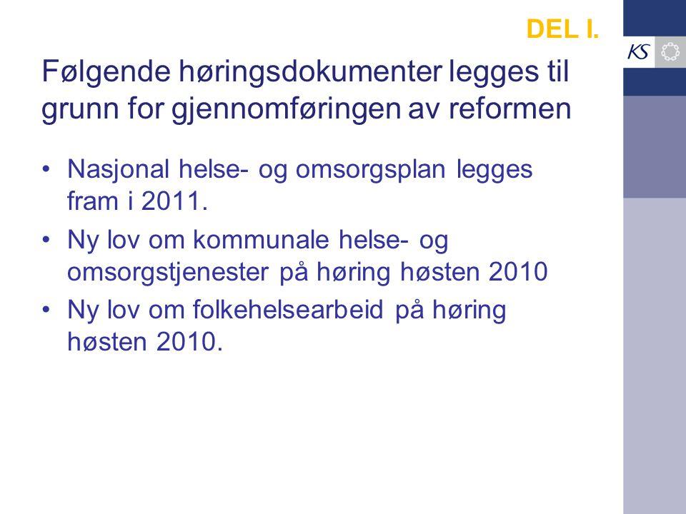 Følgende høringsdokumenter legges til grunn for gjennomføringen av reformen Nasjonal helse- og omsorgsplan legges fram i 2011.