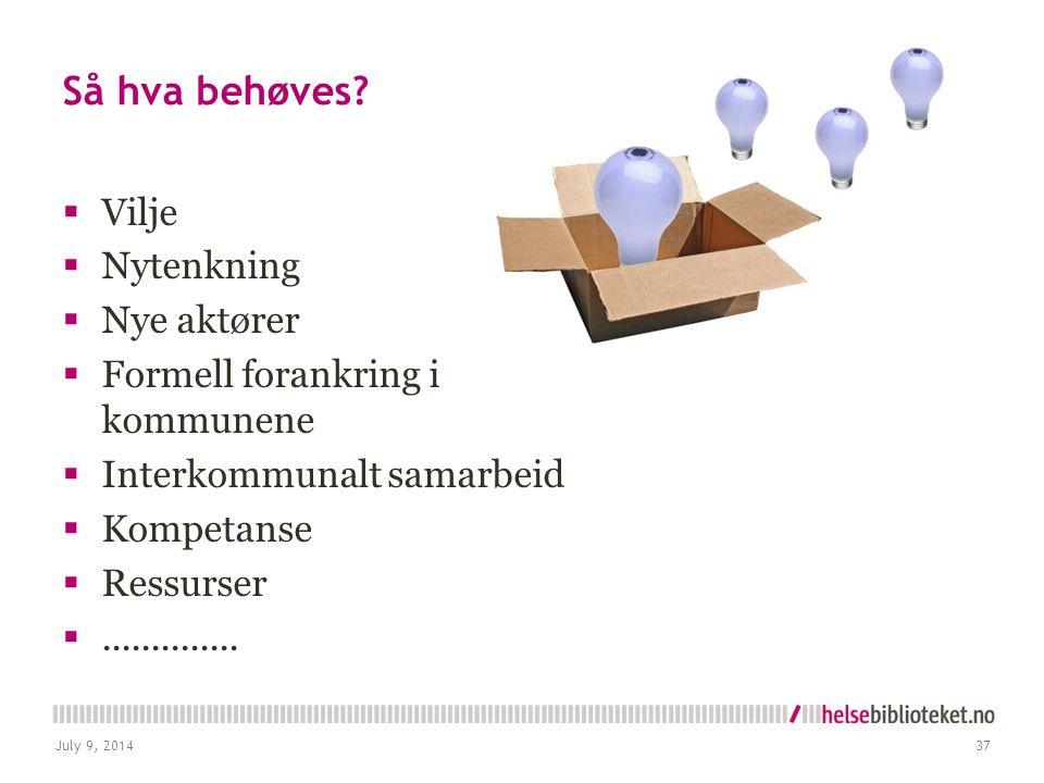 Så hva behøves?  Vilje  Nytenkning  Nye aktører  Formell forankring i kommunene  Interkommunalt samarbeid  Kompetanse  Ressurser .............
