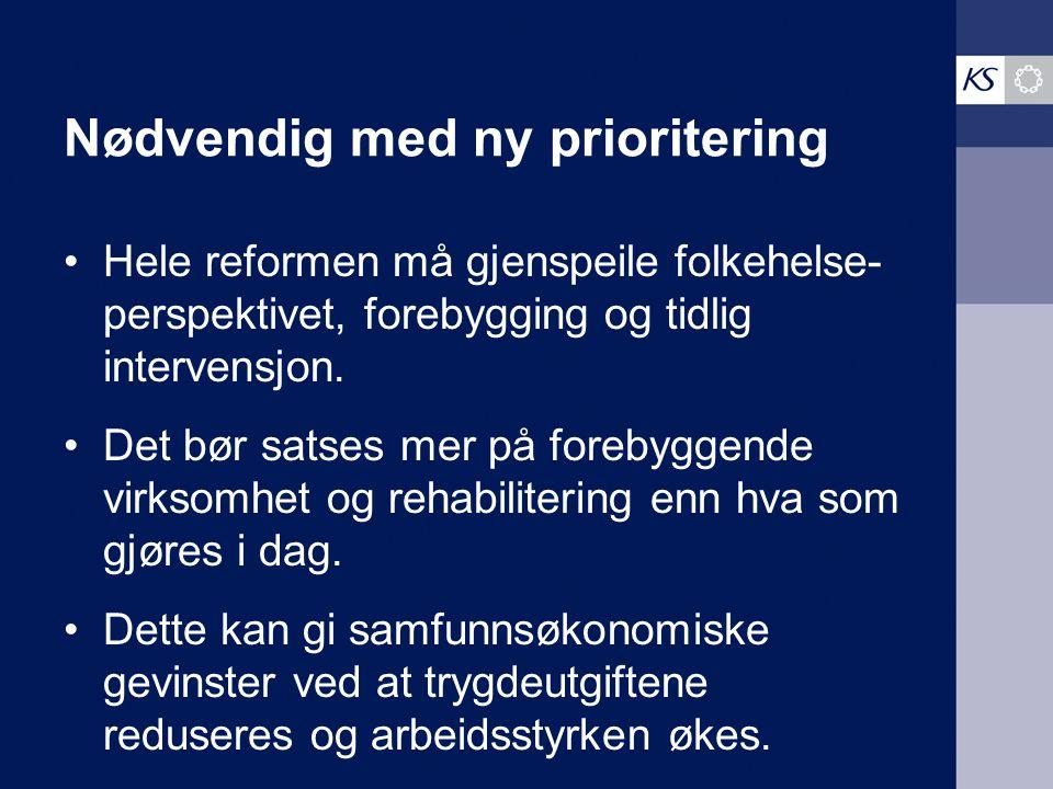 Nødvendig med ny prioritering Hele reformen må gjenspeile folkehelse- perspektivet, forebygging og tidlig intervensjon.