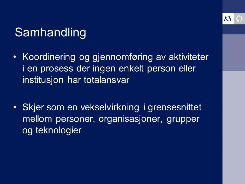Samhandling Koordinering og gjennomføring av aktiviteter i en prosess der ingen enkelt person eller institusjon har totalansvar Skjer som en vekselvirkning i grensesnittet mellom personer, organisasjoner, grupper og teknologier