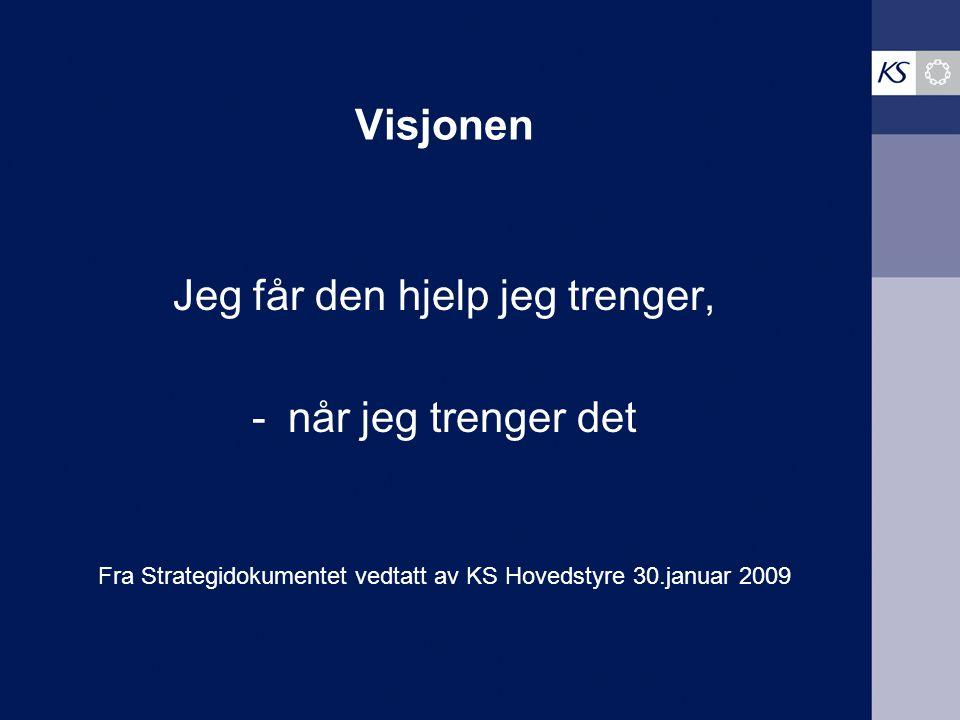Visjonen Jeg får den hjelp jeg trenger, -når jeg trenger det Fra Strategidokumentet vedtatt av KS Hovedstyre 30.januar 2009