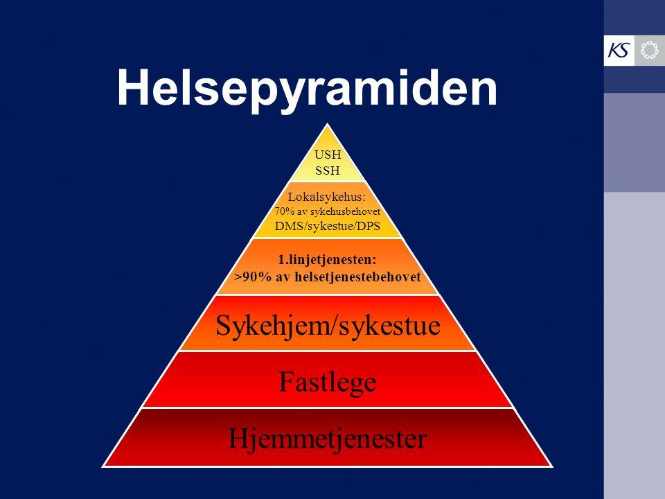 Helsepyramiden USH SSH Lokalsykehus: 70% av sykehusbehovet DMS/sykestue/DPS 1.linjetjenesten: >90% av helsetjenestebehovet Sykehjem/sykestue Fastlege Hjemmetjenester
