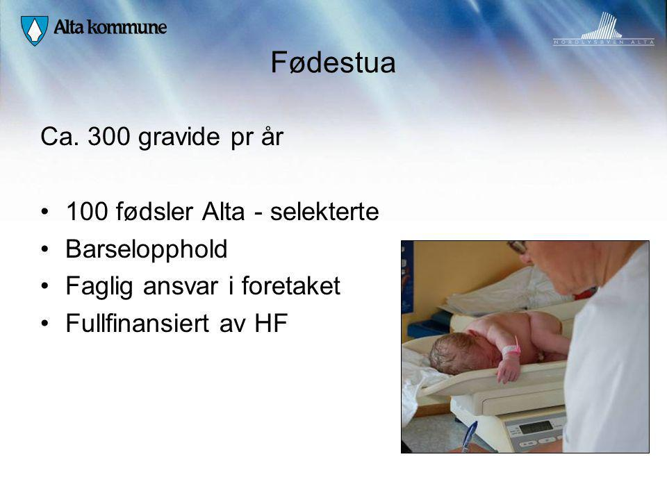 Fødestua Ca. 300 gravide pr år 100 fødsler Alta - selekterte Barselopphold Faglig ansvar i foretaket Fullfinansiert av HF