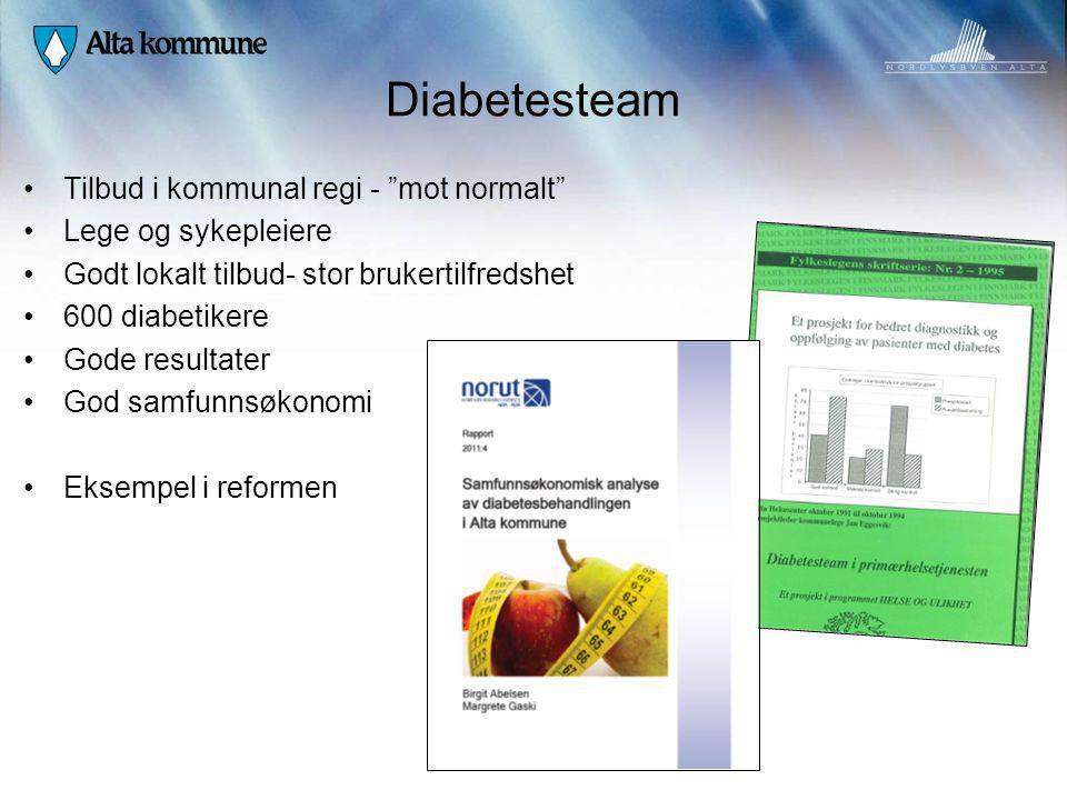 """Diabetesteam Tilbud i kommunal regi - """"mot normalt"""" Lege og sykepleiere Godt lokalt tilbud- stor brukertilfredshet 600 diabetikere Gode resultater God"""