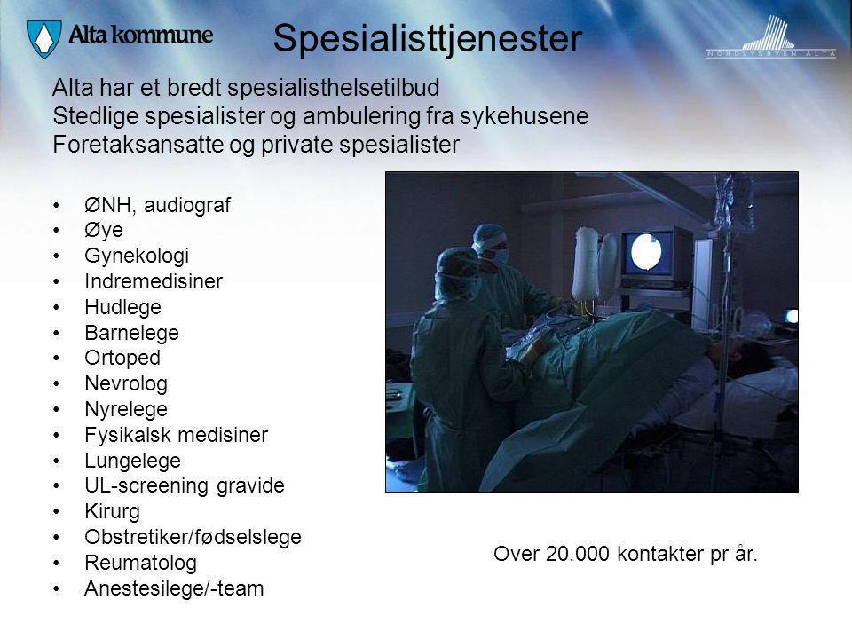 Spesialisttjenester ØNH, audiograf Øye Gynekologi Indremedisiner Hudlege Barnelege Ortoped Nevrolog Nyrelege Fysikalsk medisiner Lungelege UL-screenin