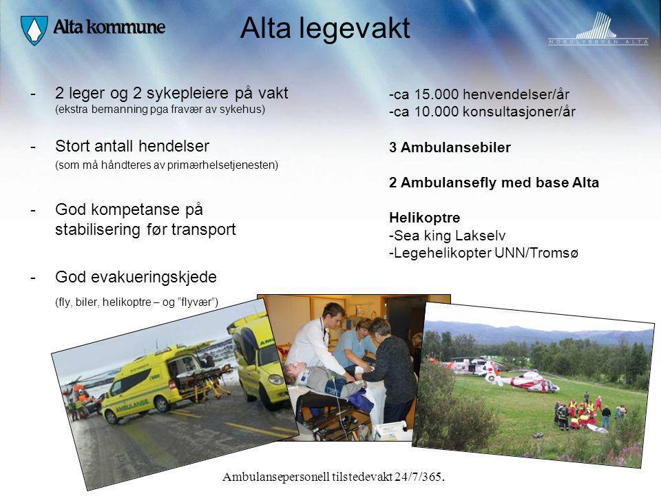 Alta legevakt -2 leger og 2 sykepleiere på vakt (ekstra bemanning pga fravær av sykehus) -Stort antall hendelser (som må håndteres av primærhelsetjene