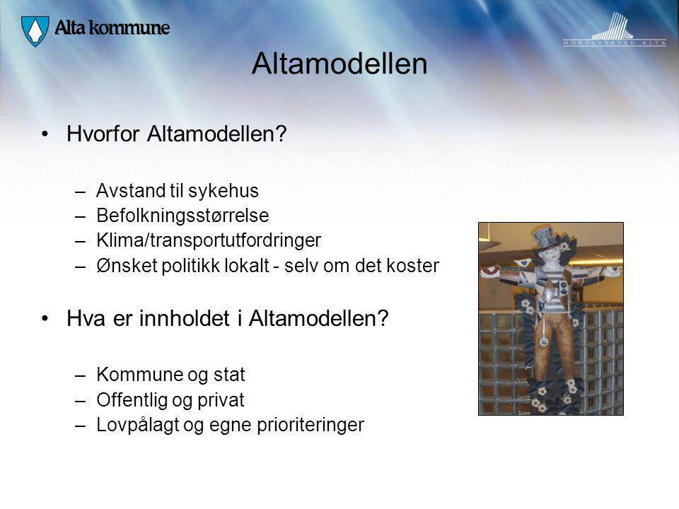 Altamodellen Hvorfor Altamodellen? –Avstand til sykehus –Befolkningsstørrelse –Klima/transportutfordringer –Ønsket politikk lokalt - selv om det koste