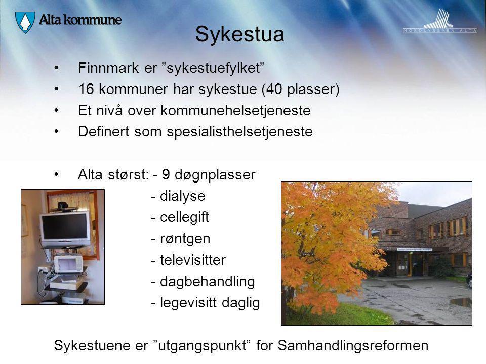 """Sykestua Finnmark er """"sykestuefylket"""" 16 kommuner har sykestue (40 plasser) Et nivå over kommunehelsetjeneste Definert som spesialisthelsetjeneste Alt"""