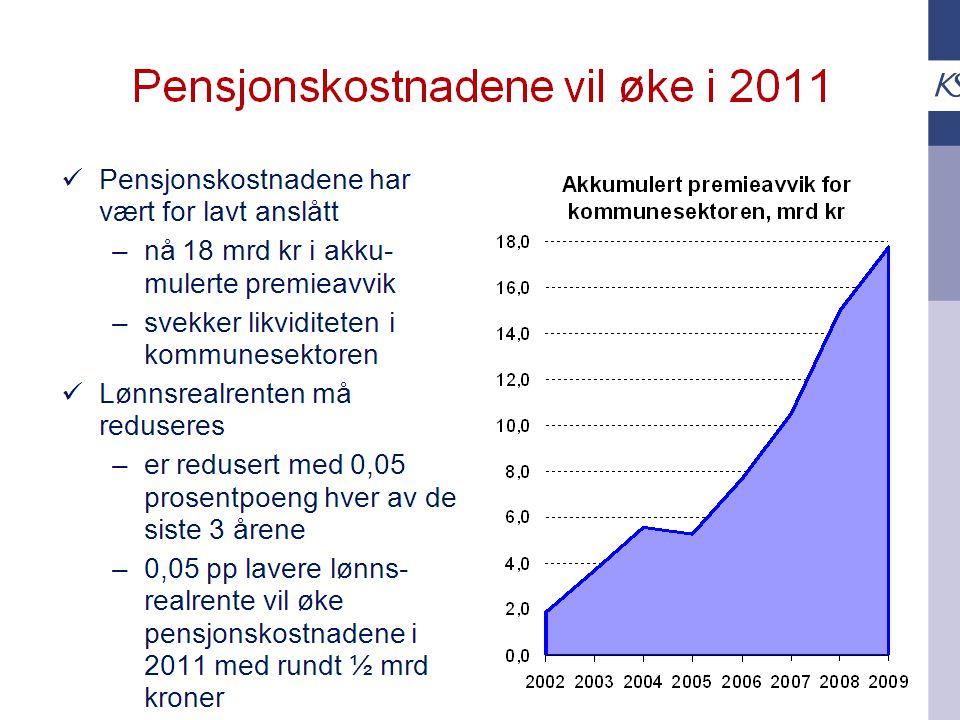 Den kommunale deflatoren (fra TBU-rapport) Hva med 2010 og 2011?; Pensjonskostnader er med i deflatoren for historiske år, men ikke i prognosene for inneværende eller kommende år.