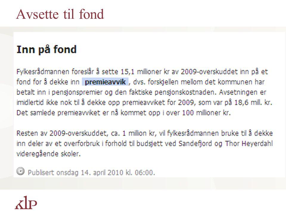 Avsette til fond