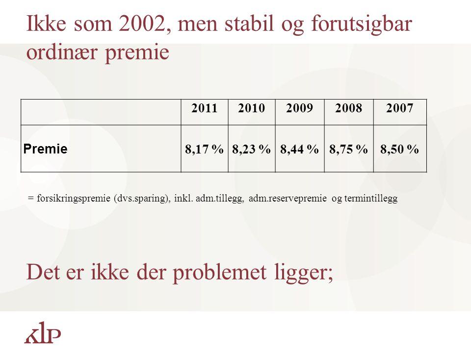 Ikke som 2002, men stabil og forutsigbar ordinær premie 20112010200920082007 Premie 8,17 %8,23 %8,44 %8,75 %8,50 % = forsikringspremie (dvs.sparing), inkl.