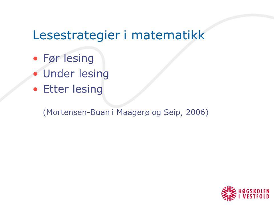 Lesestrategier i matematikk Før lesing Under lesing Etter lesing (Mortensen-Buan i Maagerø og Seip, 2006)