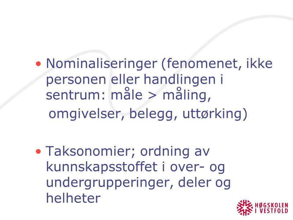 Nominaliseringer (fenomenet, ikke personen eller handlingen i sentrum: måle > måling, omgivelser, belegg, uttørking) Taksonomier; ordning av kunnskapsstoffet i over- og undergrupperinger, deler og helheter