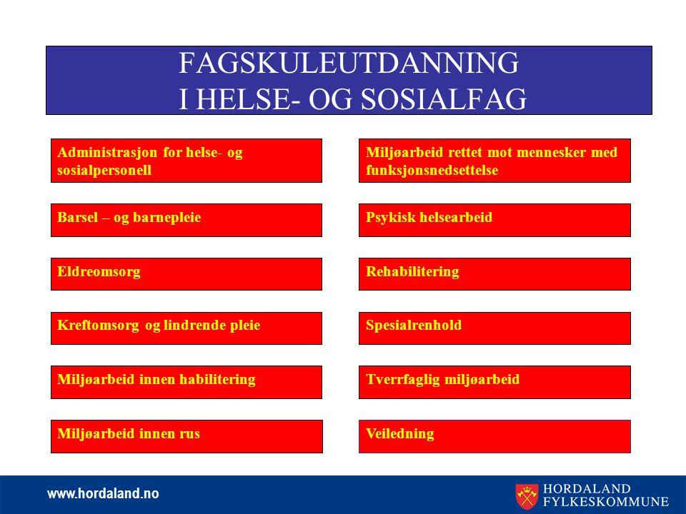 www.hordaland.no FAGSKULEUTDANNING I HELSE- OG SOSIALFAG Administrasjon for helse- og sosialpersonell Kreftomsorg og lindrende pleie Miljøarbeid innen