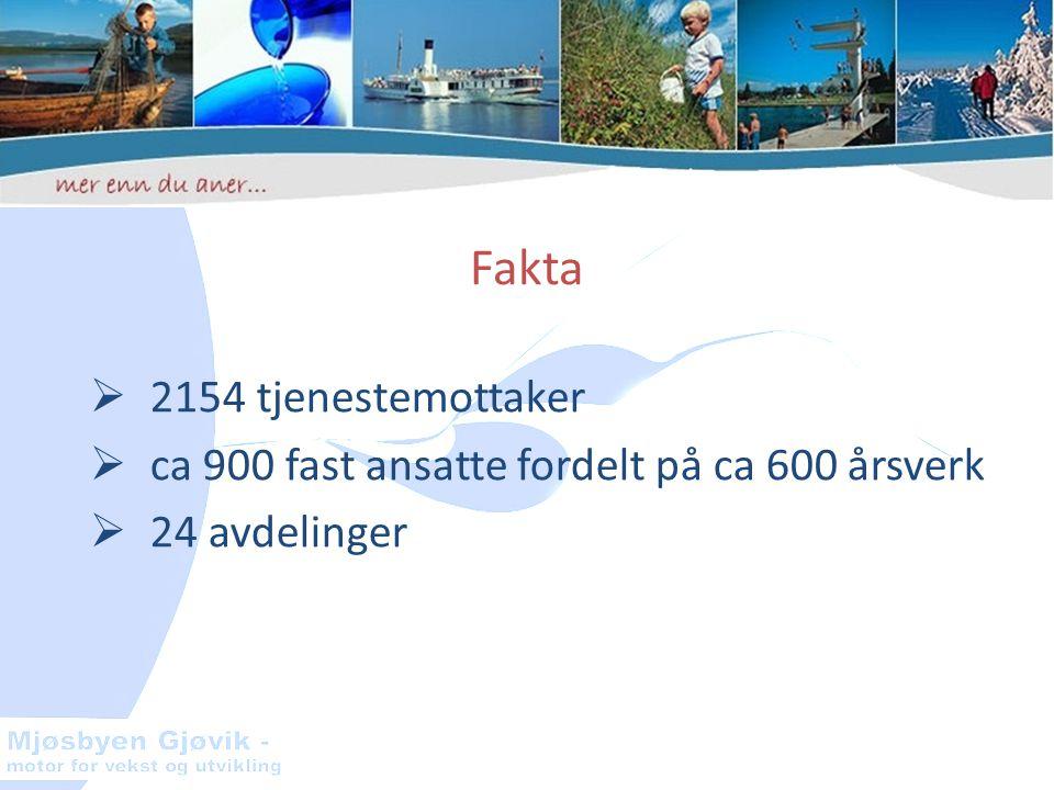 Fakta  2154 tjenestemottaker  ca 900 fast ansatte fordelt på ca 600 årsverk  24 avdelinger