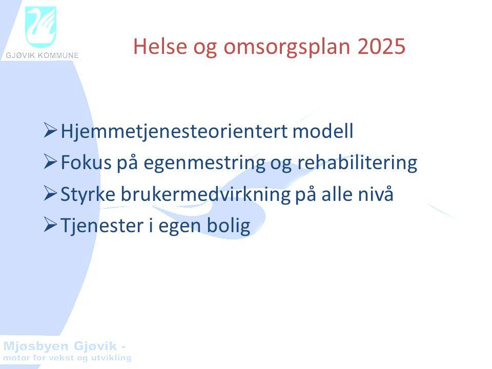 Helse og omsorgsplan 2025  Hjemmetjenesteorientert modell  Fokus på egenmestring og rehabilitering  Styrke brukermedvirkning på alle nivå  Tjenester i egen bolig