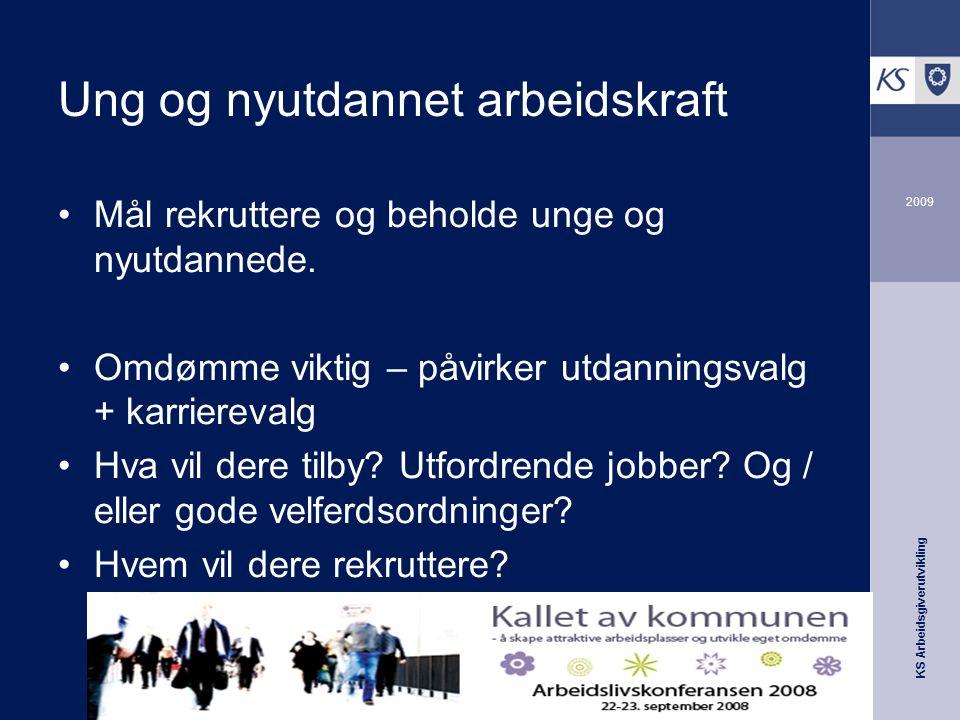 KS Arbeidsgiverutvikling 2009 Ung og nyutdannet arbeidskraft Mål rekruttere og beholde unge og nyutdannede.