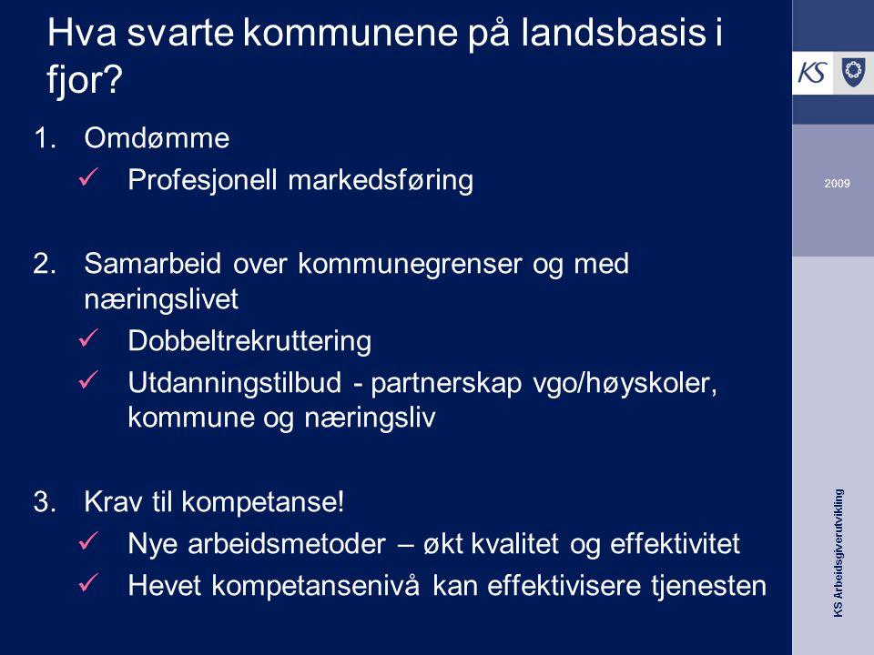 KS Arbeidsgiverutvikling 2009 Hva svarte kommunene på landsbasis i fjor.