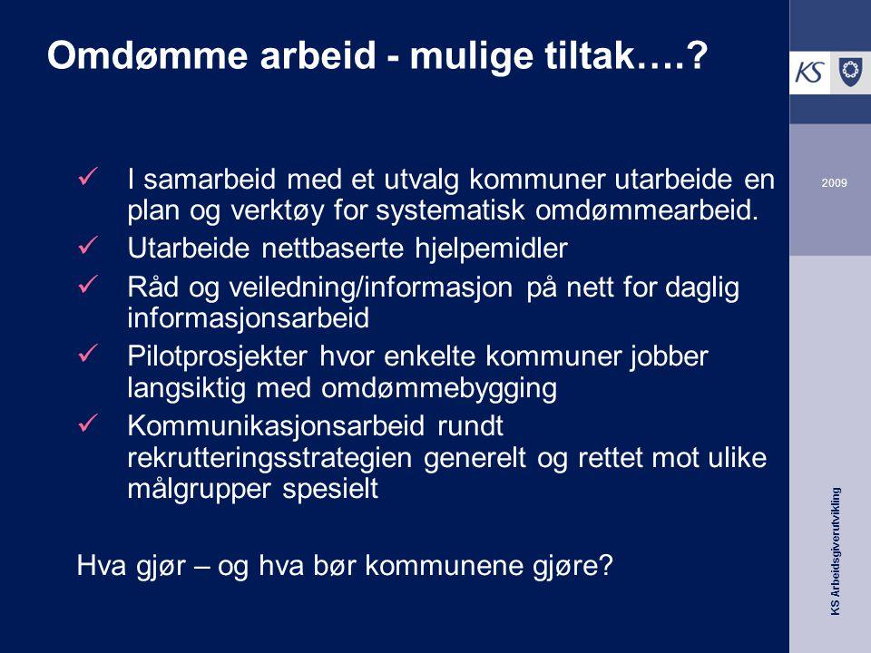 KS Arbeidsgiverutvikling 2009 Omdømme arbeid - mulige tiltak…..
