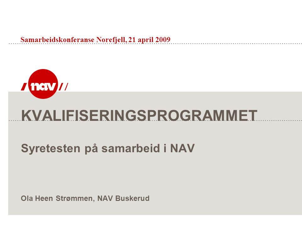 KVALIFISERINGSPROGRAMMET Syretesten på samarbeid i NAV Ola Heen Strømmen, NAV Buskerud Samarbeidskonferanse Norefjell, 21 april 2009