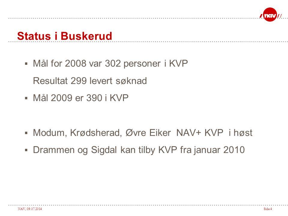 NAV, 09.07.2014Side 4 Status i Buskerud  Mål for 2008 var 302 personer i KVP Resultat 299 levert søknad  Mål 2009 er 390 i KVP  Modum, Krødsherad, Øvre Eiker NAV+ KVP i høst  Drammen og Sigdal kan tilby KVP fra januar 2010