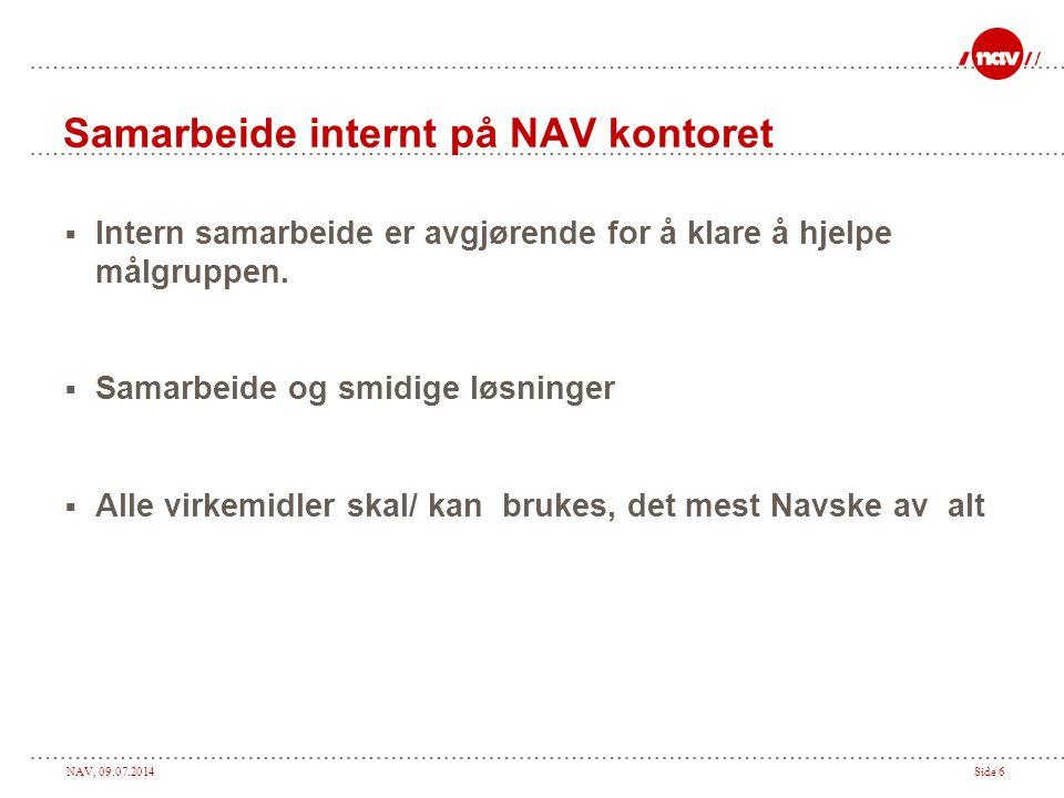 NAV, 09.07.2014Side 6 Samarbeide internt på NAV kontoret  Intern samarbeide er avgjørende for å klare å hjelpe målgruppen.