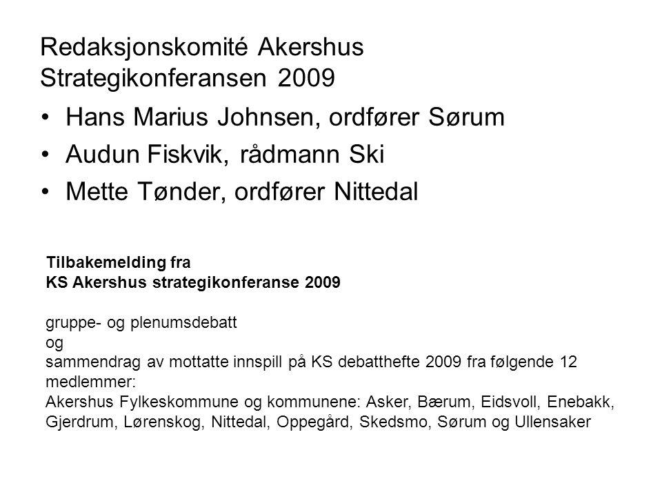 Redaksjonskomité Akershus Strategikonferansen 2009 Hans Marius Johnsen, ordfører Sørum Audun Fiskvik, rådmann Ski Mette Tønder, ordfører Nittedal Tilb