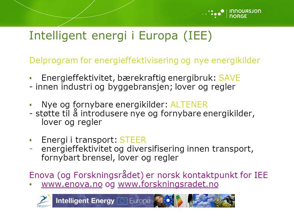 Delprogram for energieffektivisering og nye energikilder Energieffektivitet, bærekraftig energibruk: SAVE - innen industri og byggebransjen; lover og regler Nye og fornybare energikilder: ALTENER - støtte til å introdusere nye og fornybare energikilder, lover og regler Energi i transport: STEER -energieffektivitet og diversifisering innen transport, fornybart brensel, lover og regler Enova (og Forskningsrådet) er norsk kontaktpunkt for IEE www.enova.no og www.forskningsradet.no www.enova.nowww.forskningsradet.no Intelligent energi i Europa (IEE)