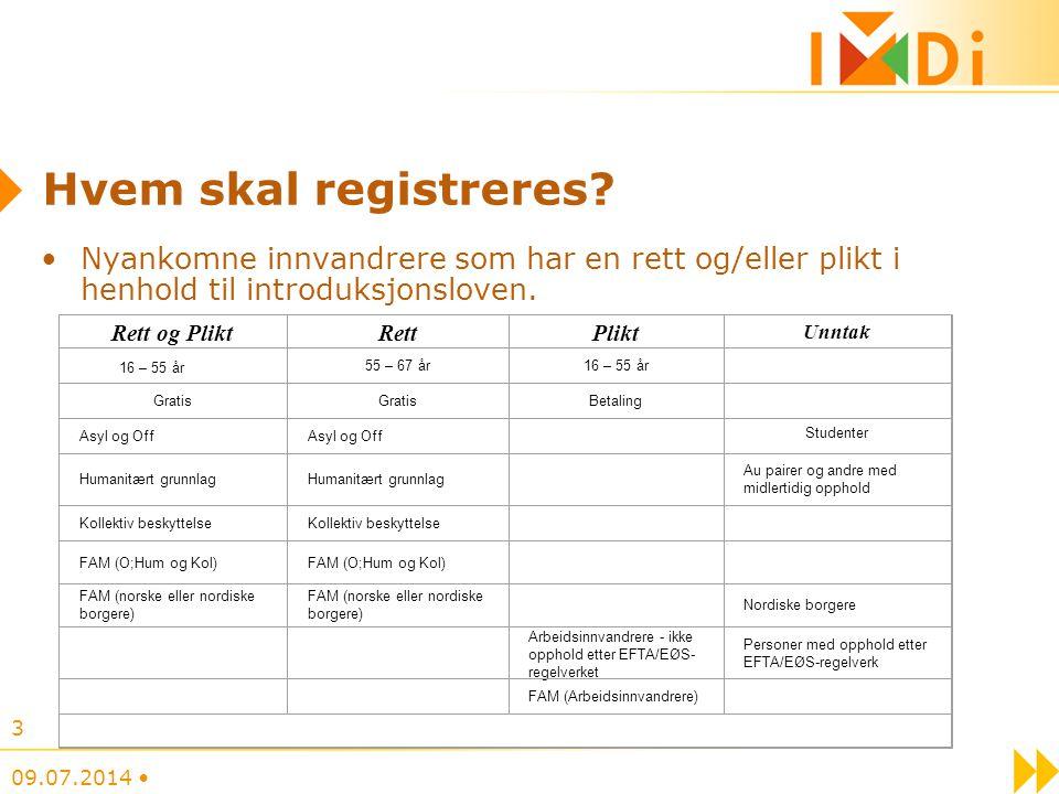 Hvem skal registreres? Nyankomne innvandrere som har en rett og/eller plikt i henhold til introduksjonsloven. 09.07.2014 3 Rett og PliktRettPlikt Unnt