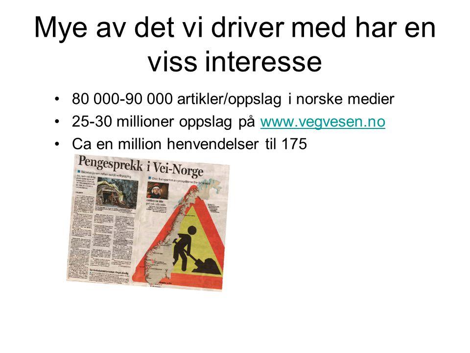 Mye av det vi driver med har en viss interesse 80 000-90 000 artikler/oppslag i norske medier 25-30 millioner oppslag på www.vegvesen.nowww.vegvesen.n