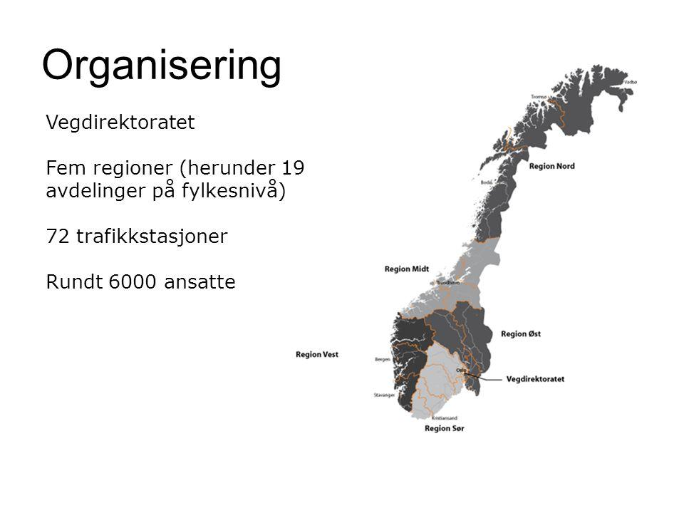 Organisering Vegdirektoratet Fem regioner (herunder 19 avdelinger på fylkesnivå) 72 trafikkstasjoner Rundt 6000 ansatte