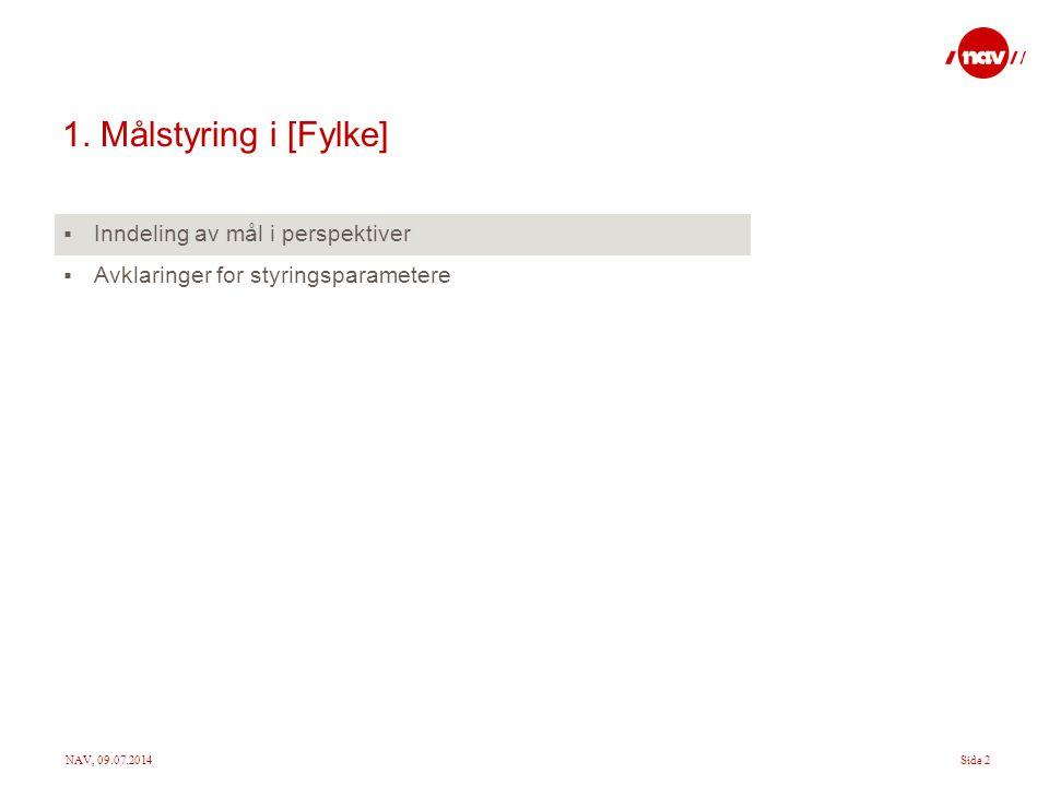 NAV, 09.07.2014Side 2 1. Målstyring i [Fylke]  Inndeling av mål i perspektiver  Avklaringer for styringsparametere
