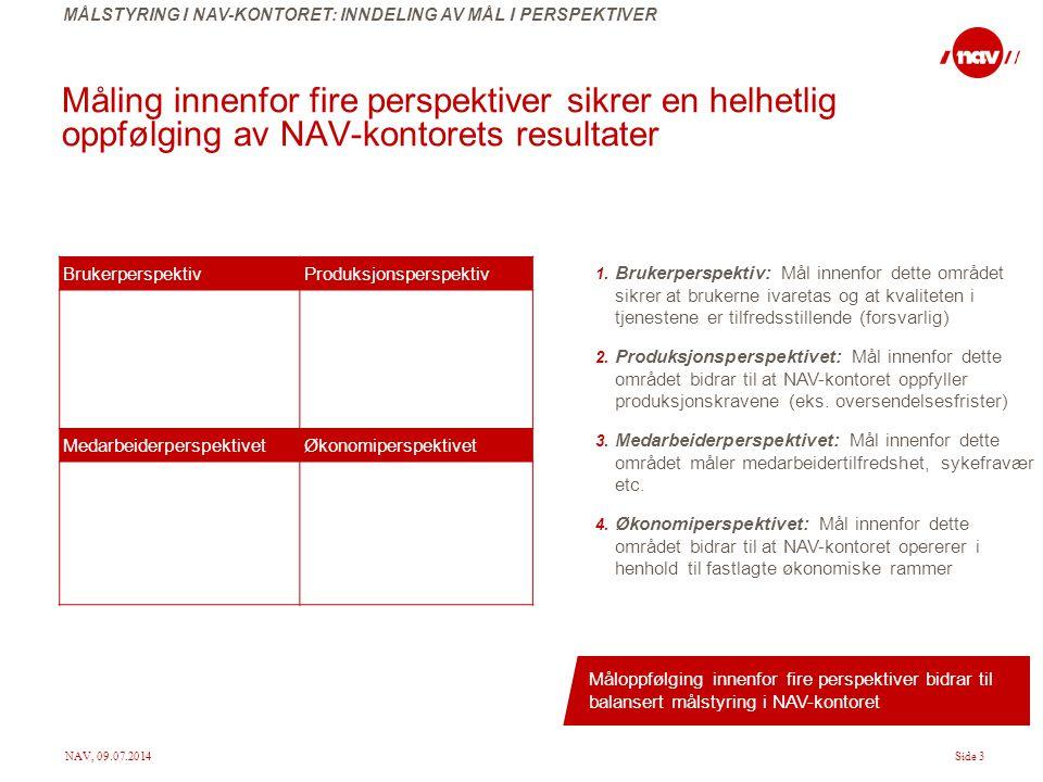 NAV, 09.07.2014Side 3 Måling innenfor fire perspektiver sikrer en helhetlig oppfølging av NAV-kontorets resultater BrukerperspektivProduksjonsperspekt