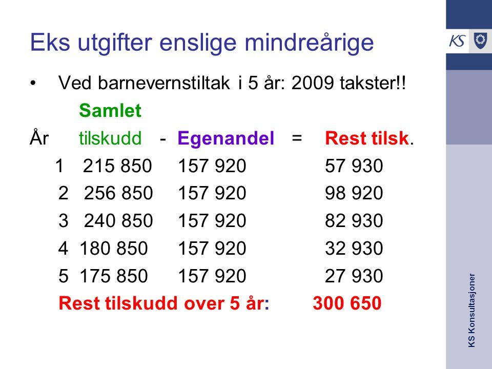 KS Konsultasjoner Eks utgifter enslige mindreårige Ved barnevernstiltak i 5 år: 2009 takster!! Samlet År tilskudd -Egenandel =Rest tilsk. 1215 850157