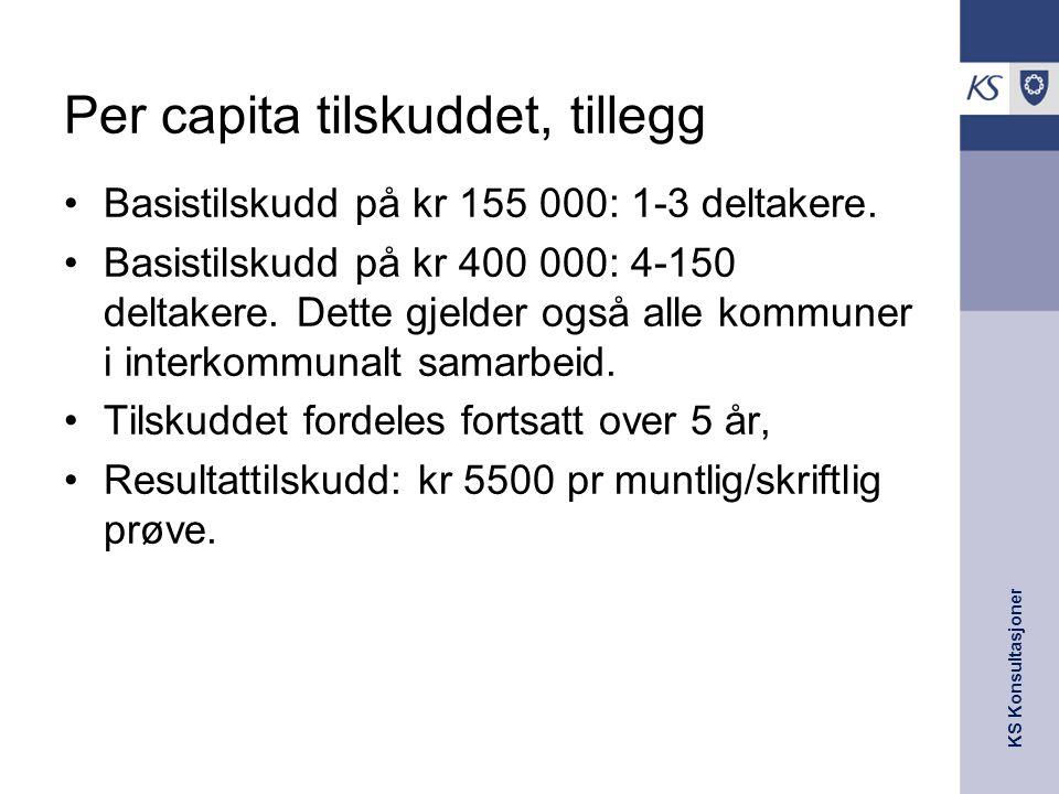KS Konsultasjoner Per capita tilskuddet, tillegg Basistilskudd på kr 155 000: 1-3 deltakere. Basistilskudd på kr 400 000: 4-150 deltakere. Dette gjeld