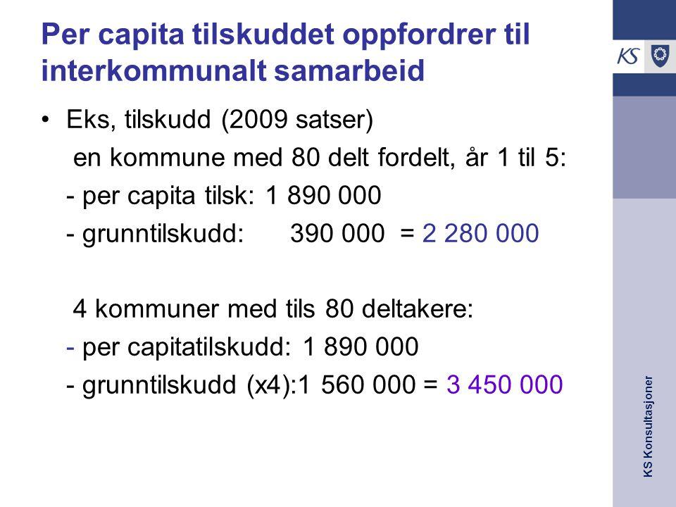 KS Konsultasjoner Per capita tilskuddet oppfordrer til interkommunalt samarbeid Eks, tilskudd (2009 satser) en kommune med 80 delt fordelt, år 1 til 5