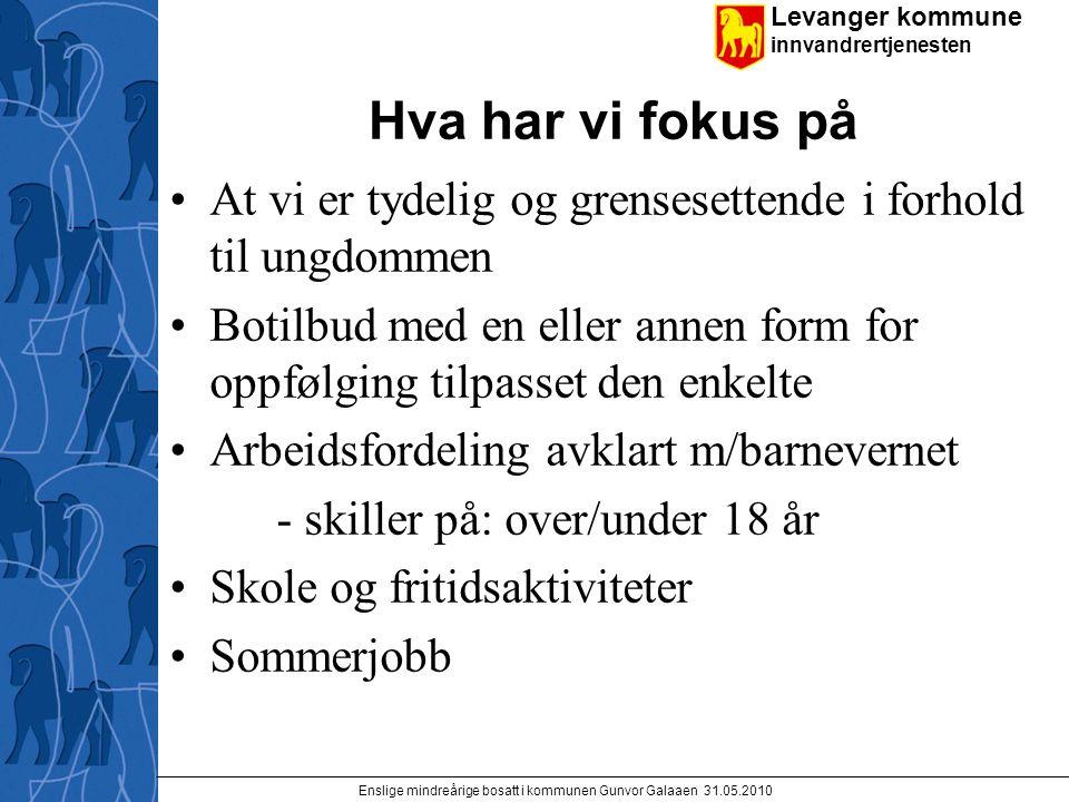 Levanger kommune innvandrertjenesten Enslige mindreårige bosatt i kommunen Gunvor Galaaen 31.05.2010 Hva har vi fokus på At vi er tydelig og grenseset