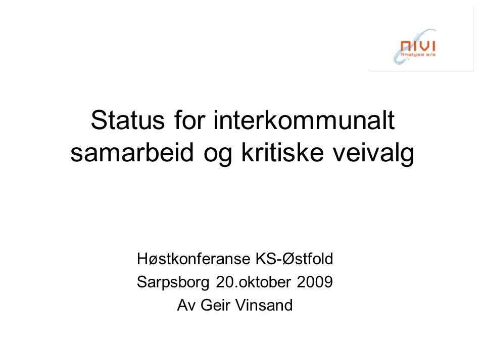 Totalbilde i Nord-Trøndelag Alle kommuner er medlemmer i regionråd Alle samhandler om IKT 2 etablerte samkommuner, flere helsepiloter, utprøving av VK- modeller 147 formelle ordninger –41% på bilateralt nivå (60 ordninger) –44% på regionrådsnivå (65 ordninger) –5% på Namdalsnivå (8 ordninger) –4% på Innherredsnivå (6 ordninger) –5% på fylkesnivå (8 ordninger) 26 registreringer utenfor definisjonen, finnes mange flere, mange løse nettverk, svært omfattende prosjektaktivitet Forsøk på politisk mobilisering i de to landskapene (Namdalsting og Frostating)  Se NIVI-rapport 2008 nr 2  En tilsvarende rapport kommer for Sør-Trøndelag i november